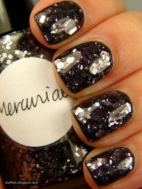 Dark...mirrored nailsNails Art, Nails Design, Nailpolish, Beautiful, Glitter Nails, Sparkle Nails, Black Nails, Nails Polish, Sparkly Nails