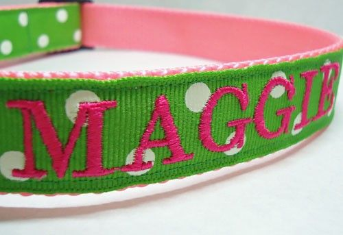 Dog Collar Monogrammed Dog Collar Green by TheMonogrammedMutt, $23.00   (of course in a manly pattern)