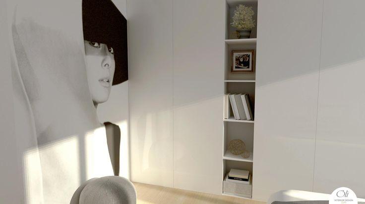 #small #bedroom #renovation - 3D Visualization - by Oli Interior Design Studio #modern  #grey #white #black #elegant #wallpaper #edesign