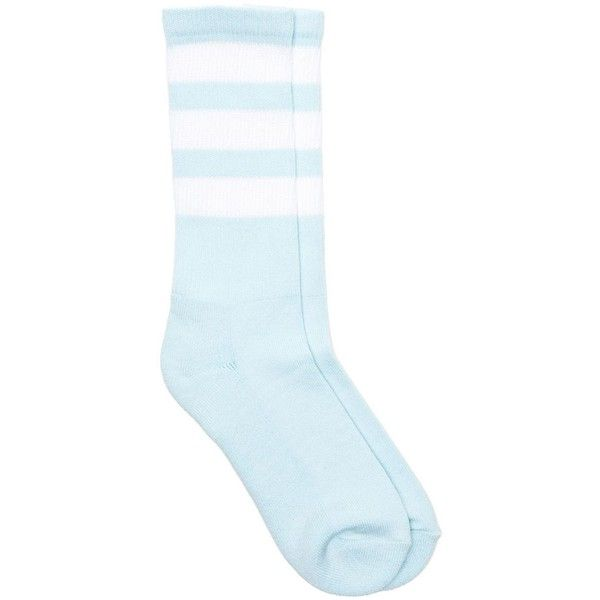 Stripe Knee-High Sock ($10) ❤ liked on Polyvore featuring intimates, hosiery, socks, accessories, blue, clothing - socks, striped socks, blue knee socks, knee high socks and striped knee high socks