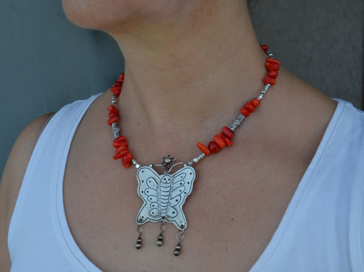 Natural Red Coral Necklace with Tribal Handcrafted Butterfly Miao Silver Pendant (282) by LKArtChic on Etsy