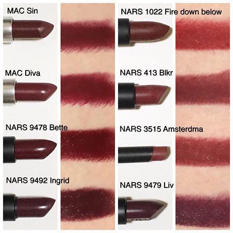 Vampy Lipsticks * * さてさて、💄Vampy Lipstickフェスのはじまりぃ〜〜🎊 左 ・MAC Sin ・MAC  Diva ★ ・NARS 9478 Bette ・NARS 9492 Ingrid ☆ 右 ・NARS 1022 Fire down below ★ ・NARS 413 Blkr ★ ・NARS 3515 Amsterdam ・NARS 9479 Liv ★ ( ★は日本未発売または、廃番。だけどUSでは販売しています。) ( ☆は阪急梅田本店限定)  私は基本的に、1度塗る→ティッシュオフ→もう1度塗る→ティッシュオフ→完了❗️という手順です。  MACの2本はマットなので、唇が乾いちゃうのイヤん派さんにはちょっとね…。むいて無いかも。私の手順だとカッサカッサです。でもカッサカッサでもいーんです。素敵カラーだから塗ってます。 NARSのオーデイシャス達は、信頼と安定の保湿力😆💕やっぱいいわぁオーデイシャス✨  私のお勧めは3本❗️ ・NARS 9478 Bette…