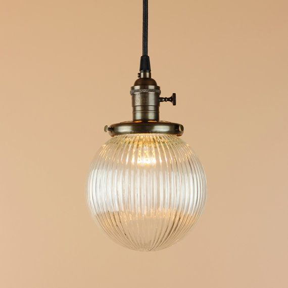pendant light 8 inch clear glass holophane style globe antique wire hand finished in oil rubbed bronze