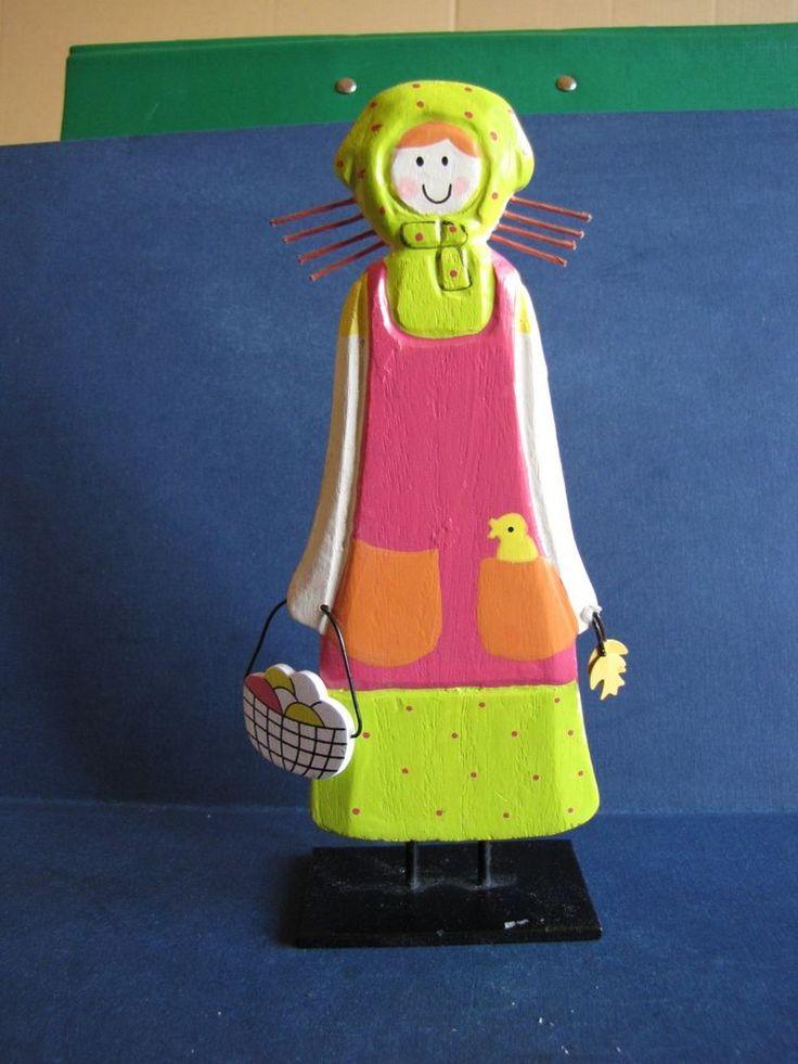 Vintage Wood Metal People Figure Girl Doll Sweden handmade pink green