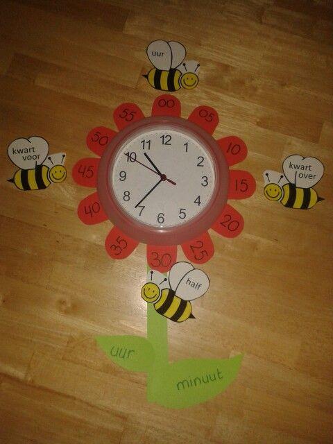 Klok. Met bijtjes die heel, half, kwart voor en kwart over aangeven. Het kleine blad verwijst naar de kleine wijzer, het grote blad naar de grote.