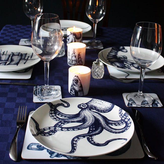 Cream Cornwall celebrates Cornish life with home accessories | Homegirl London - cream cornwall maritime tableware plates