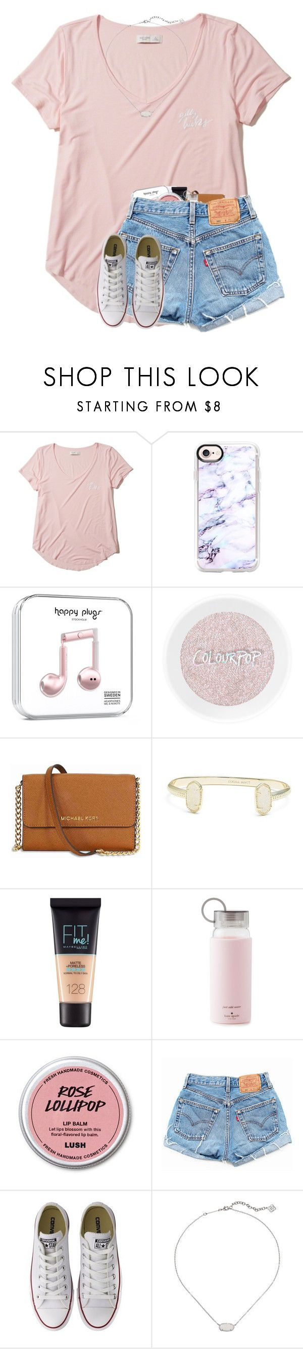 """""""(Unstoppable)"""" by mmadss ❤ liked on Polyvore featuring Hollister Co., Casetify, Michael Kors, Kendra Scott, Maybelline, Kate Spade, Levi's and Converse"""