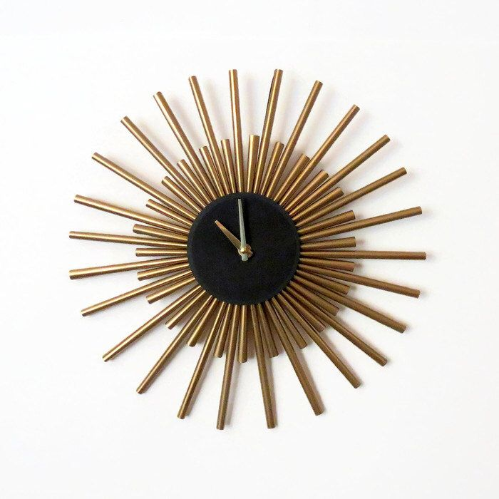 Wall Clock, Sunburst Clock,  Gold Wall Clock, Living Room Clock,   Home Decor, Decor and Housewares, Unique Gift by Shannybeebo on Etsy https://www.etsy.com/listing/202091406/wall-clock-sunburst-clock-gold-wall