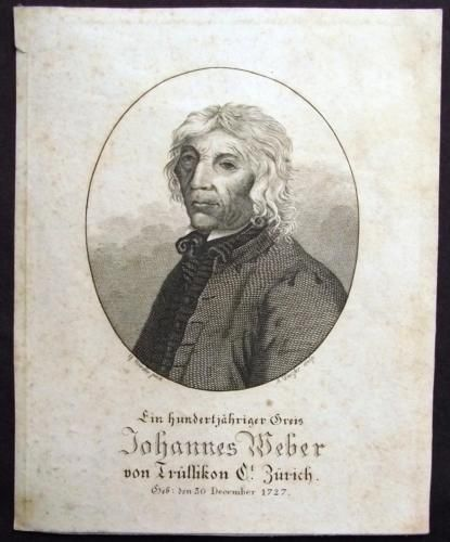 1827 A Dunzler RUSSIKON Zürich - Johannes Weber depicted on his 100th Birthday…