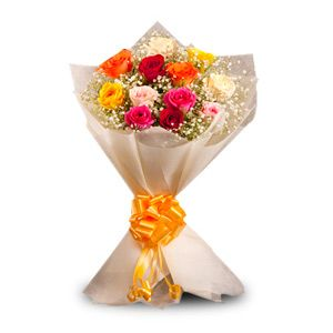 Bunch of 12 mix color roses with seasonal fillers nicely wrapped in an off white paper wrapping and a contrast ribbon. http://www.tajonline.com/valentines-day-gifts/product/v2463/colorful-charm/?aff=pint2014/