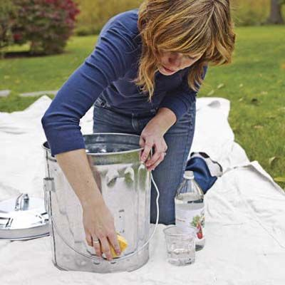 wipe down metal objects with vinegar before painting to keep the paint from peeling - I need to remember this