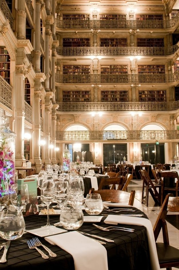 Breathtaking wedding venue in a grand library - the perfect homage to the literary ways of the bride and groom and absolutely stunning | From How To Have The Best Literary Wedding Ever on Buzzfeed