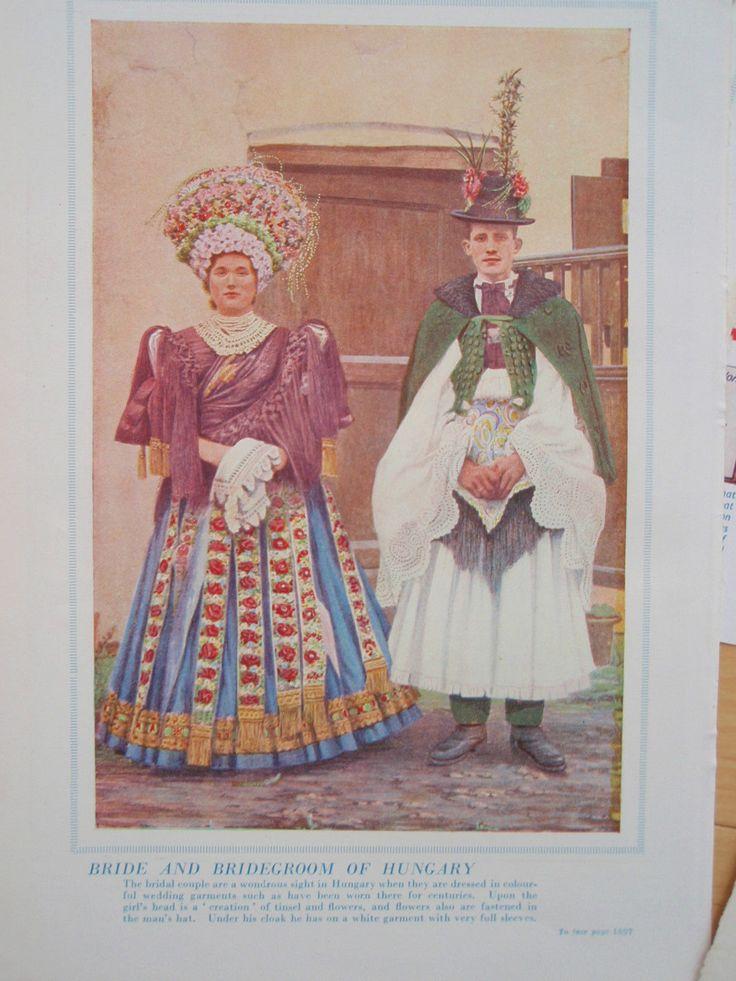 Traditional Hungarian Wedding Costume Old Vintage Retro Print Hungary 1950s   eBay