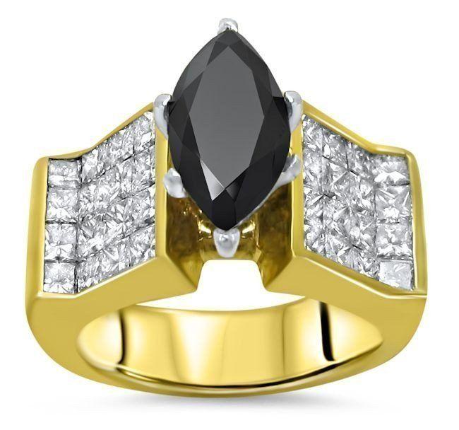 4.25ct Black Marquise Diamond Engagement Ring 14k Yellow Gold