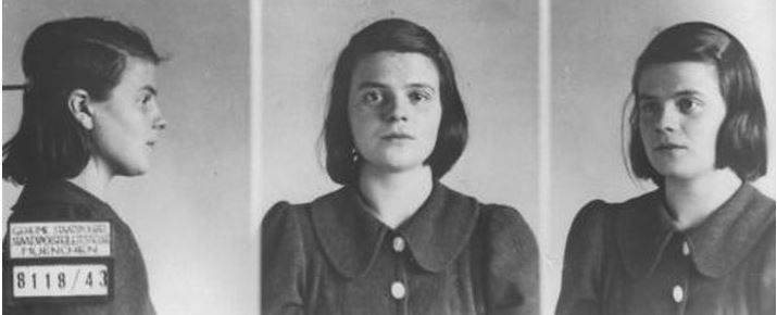 Sophie Scholl, the 21-year old student who, along with her brother, organized the White Rose group against the Nazi regime. These are the Gestapo photos taken after her arrest. She was beheaded in 1943.