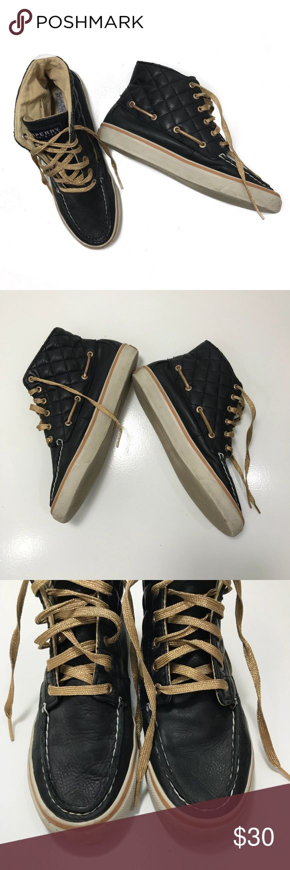 Sperry High Tops • Navy classic lace up high tops. These show normal signs of wear as shown in the photos. Sperry Top-Sider Shoes Sneakers