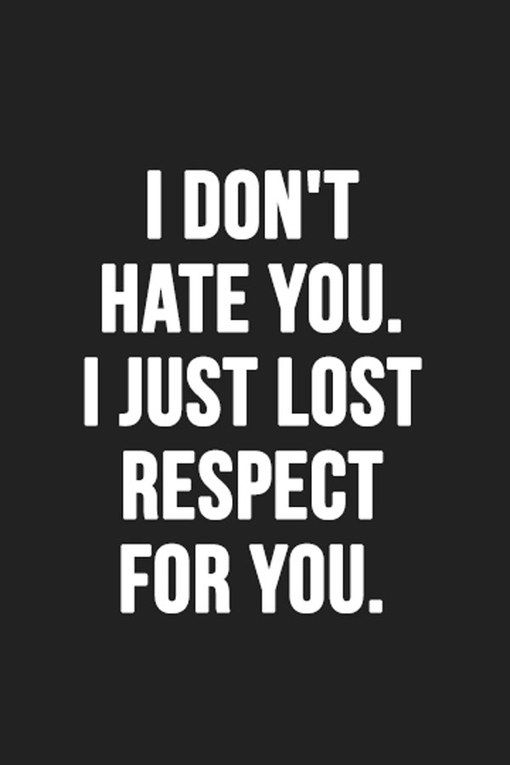 I DON'T HATE YOU. I JUST LOST RESPECT FOR YOU. ♡