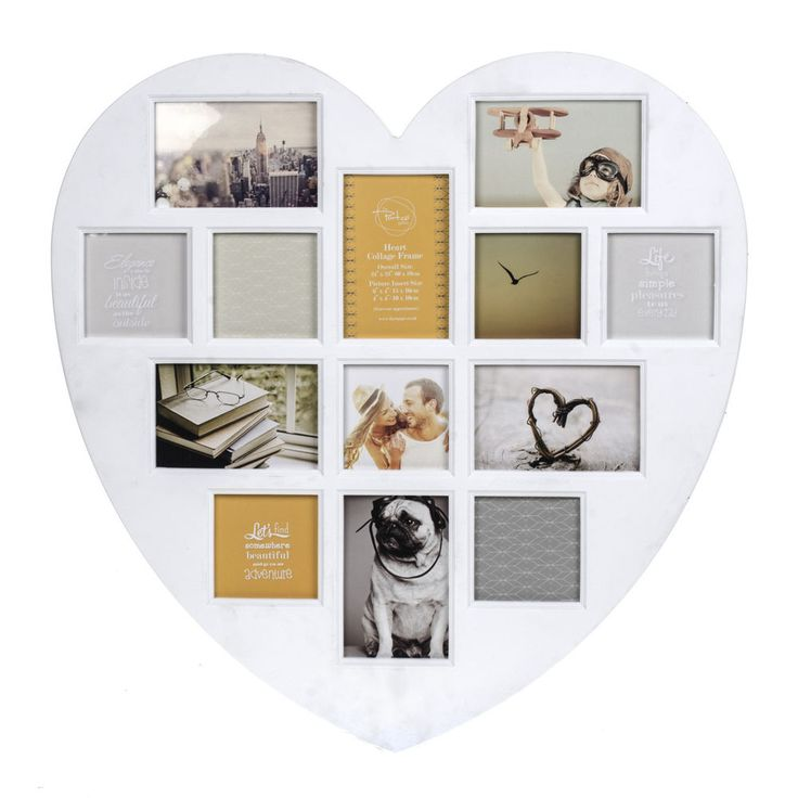 Photo Frame Collage White Heart 13 Apertures In Various Sizes