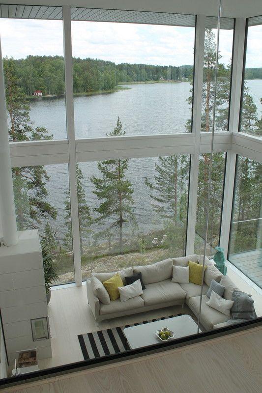The amazing lake Saimaa-view from the master bedroom. VILLA SAIMAANHELMI. Interior design by Kirsi Valanti. Housing fair/ Asuntomessut Mikkeli 2017