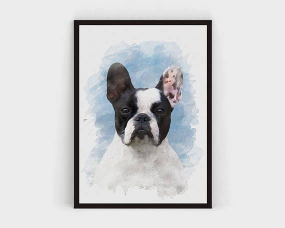 French Bulldog Art Print, Cute French Bulldog Portrait Printable, Frenchie Wall Art, Dog Portrait Print Watercolor, Cute Animal Dog Poster kids room nursery prints prints for girls room printable wall art animal photography cute animal photography pet art dog doggie