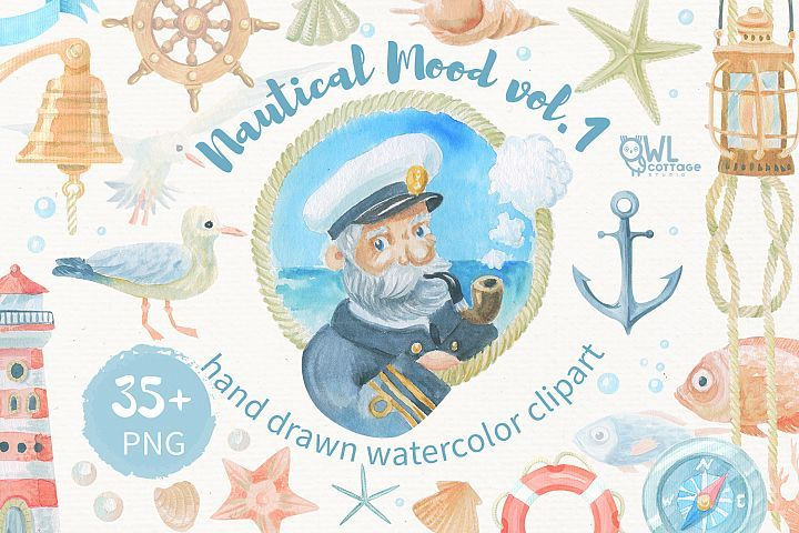 Nautical watercolor clipart collection - Free Design of The Week Design