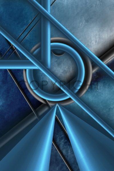 Metall - geometrische Digital Kunst von Christine Bässler