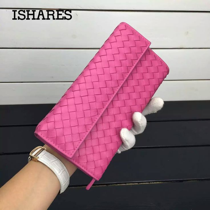 High quality Hot Selling Top New 2017 Ladies Long Edition Bag Sheep Leather Purse Hand-woven genuine leather Women Wallet IS1302