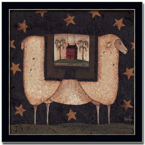 Sheep Star Americana Primitive Folk Art Print Framed by ...
