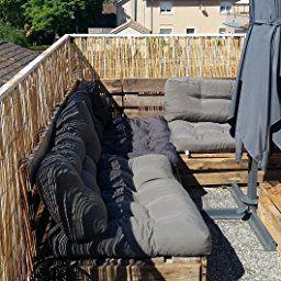 [en.casa] Coussins de palettes- kit de 3 - Rembourrage de siège+ Coussins de dossier[gris foncé] canapé palettes In/Outdoor