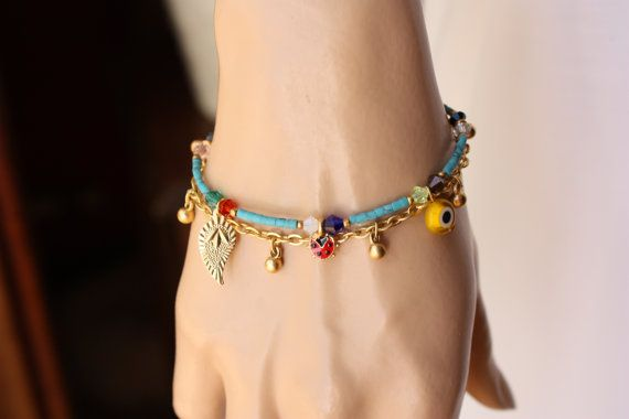 Turquoise Tiny Afghan Bead Ethnic Bracelet with Gold Chain
