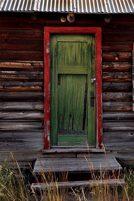 Old green and red door