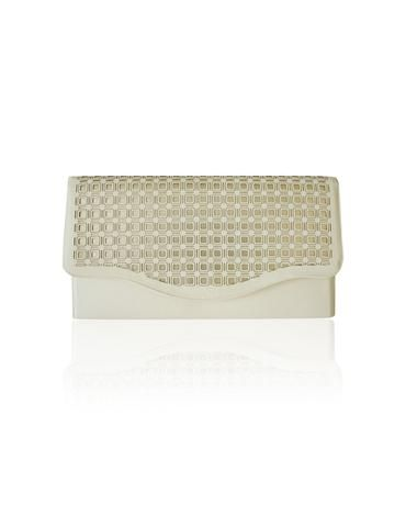 BOWBON   Gorgeous cream and gold tone clutch bag with square pattern detail