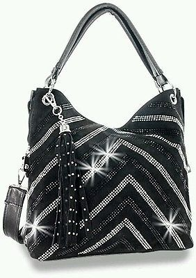Black Rhinestone Crystal Bling Chevron V Handbag Tote Hobo Shoulder Bag