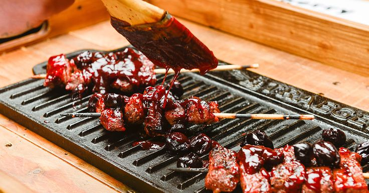 ... smashed steak skewers with cherry barbecue sauce by michelle tam http