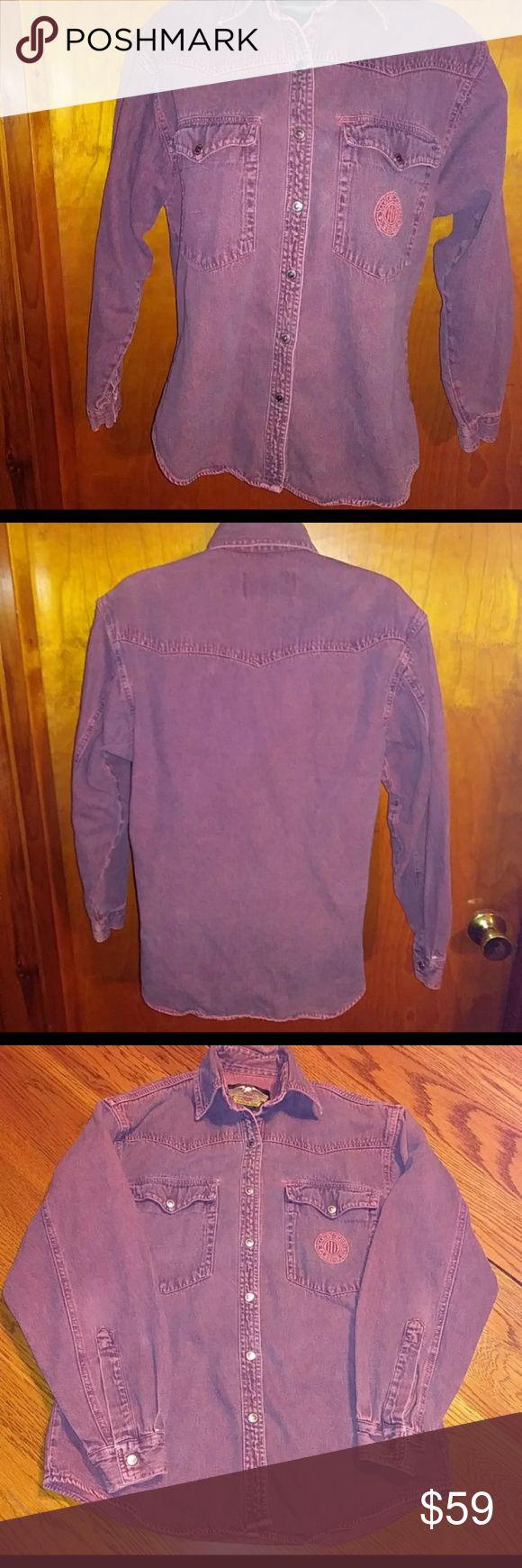 Vintage Womens Harley Shirt XS Vintage XS Womens Harley Denim Shirt Harley-David...