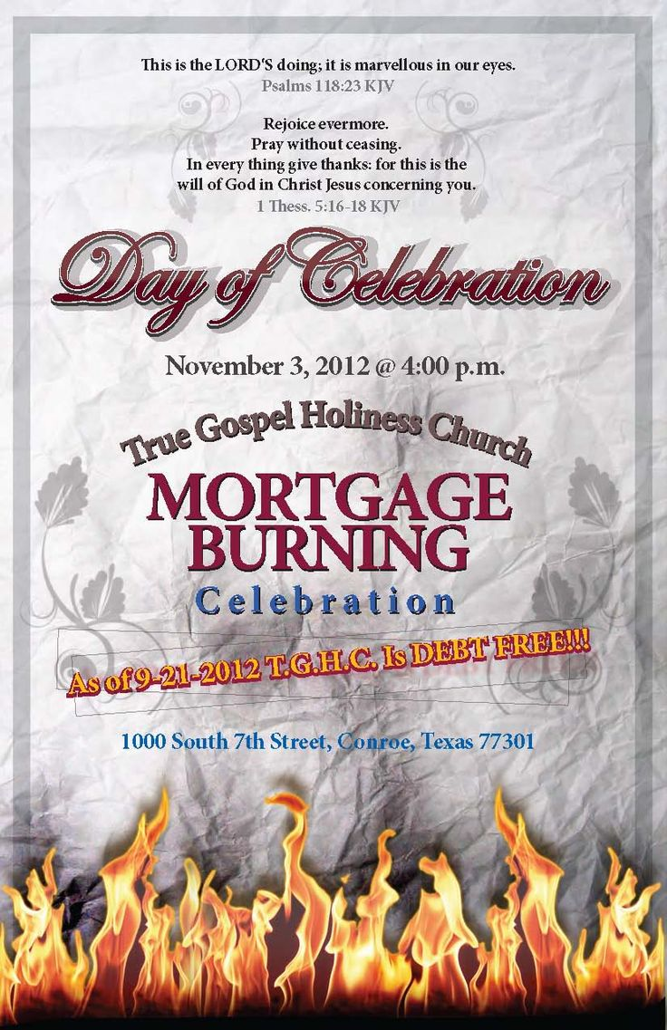 Church Mortgage Burning Event  JRW Creative Group  Invitation  Handout Designs  Pinterest
