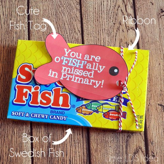 {Primary} 'We Miss You' Swedish Fish Treat Idea - Little LDS IdeasLittle LDS Ideas
