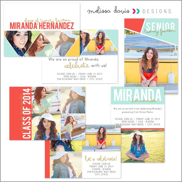 Miranda senior grad announcements - $20.00 : Melissa Davis Designs, Photoshop templates, Card templates, album templates and more for the every day photographer
