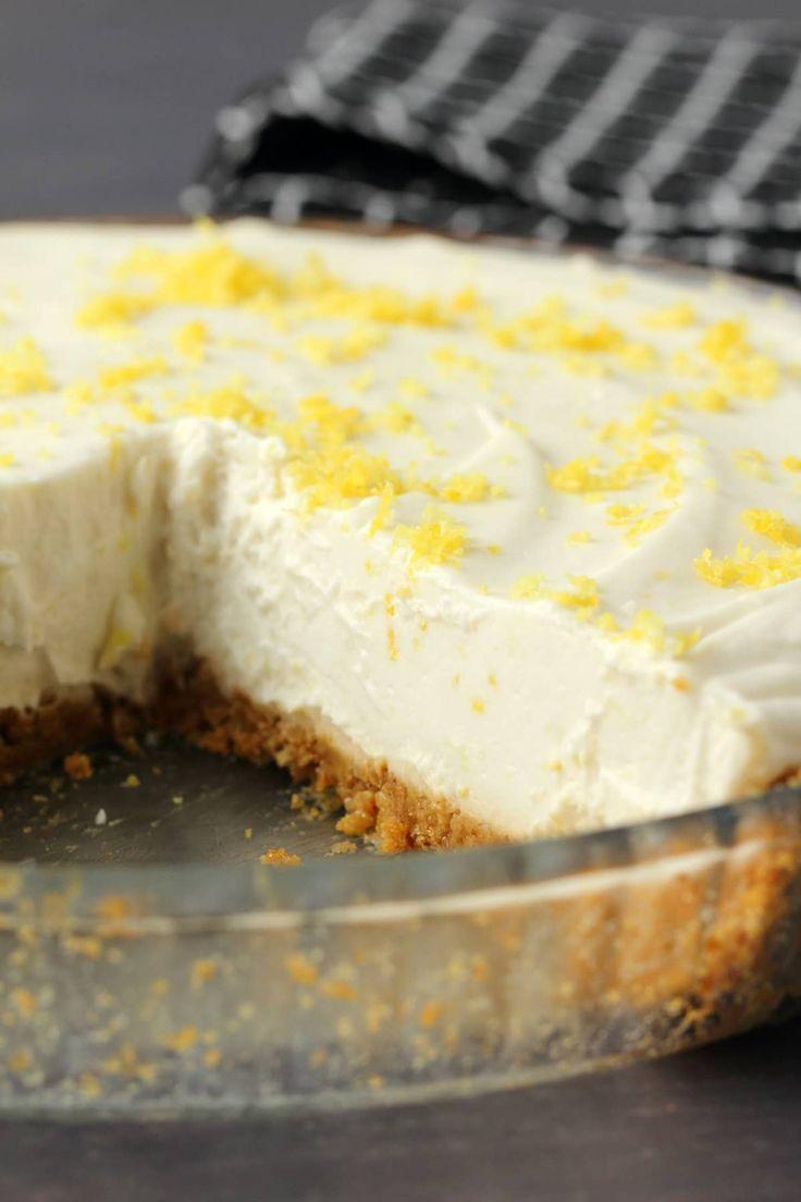 Creamy And Deliciously Lemony No Bake Vegan Lemon Pie With Ginger Cookie Crust Made With Homema Vegan Lemon Desserts Lemon Cheesecake Recipes Vegan Lemon Cake