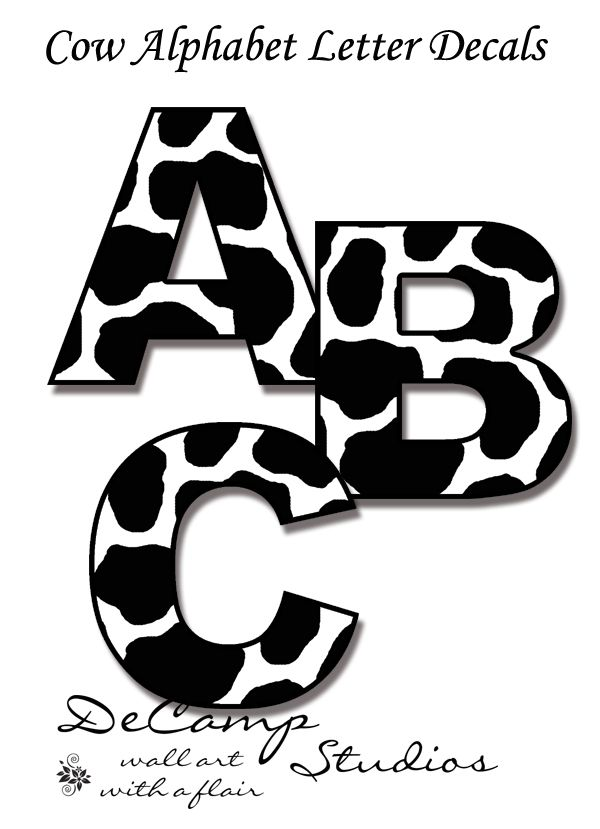 Cow Alphabet Letters Wall Art Decals For Barnyard Farm