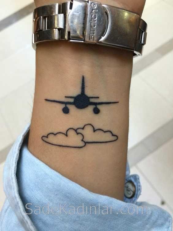 Küçük Dövme Modelleri Tattoo Uçak ve Bulut Bilek Dövmeleri