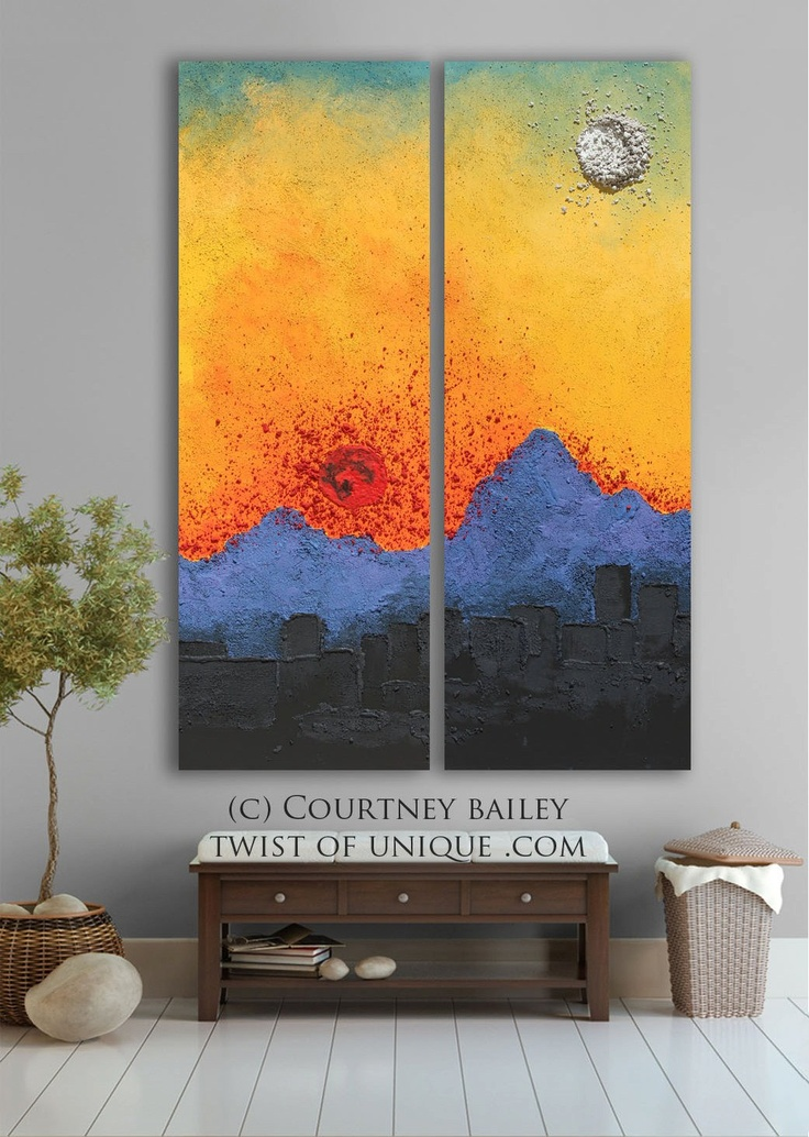 Arizona sunset abstract artwork,  Large ORIGINAL Abstract painting, abstract wall art, blue, Orange, Red, yellow, black, sun and moon,.