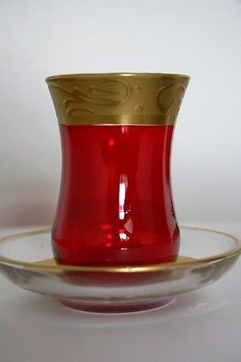 Hand Painted Red & Gold Turkish Tea Set of Six