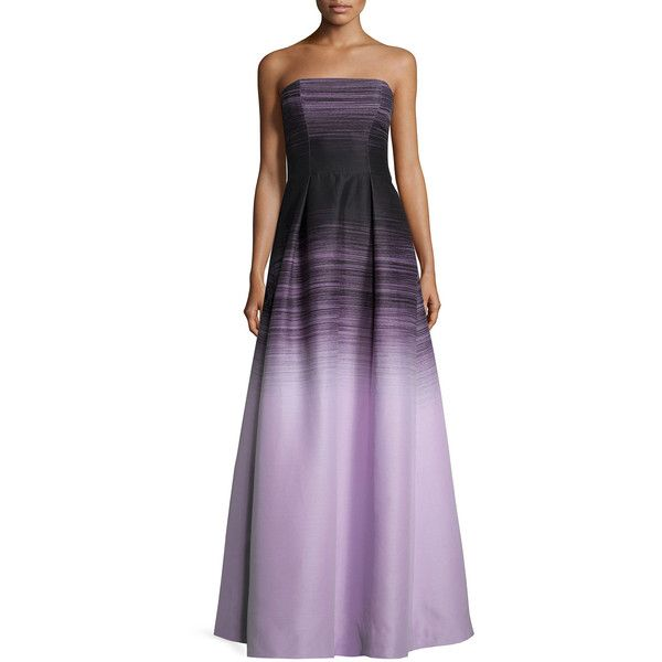 Halston Heritage Strapless Ombre Ball Gown ($745) ❤ liked on Polyvore featuring dresses, gowns, black thistle omb, ombre dress, ombre gown, pleated dress, black full skirt and strapless ball gown