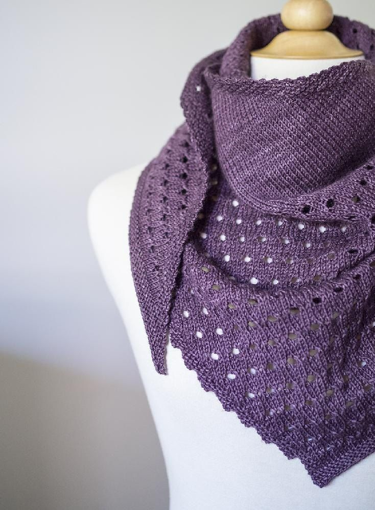 GumDrop has large eyelets and is knit in diagonally using stockinette and garter stitches. You can knit this design with more eyelets (purple sample) or just an eyelet border (yellow sample). Use a sport weight yarn for a scarf or worsted weight yarn for a shawl. Blocking required. Enjoy!Use 3.50mm / US 4 and 2.75mm / US 2 needles for scarf, and 4.50mm / US 7 and 3.75mm / US 5 needles for shawl.