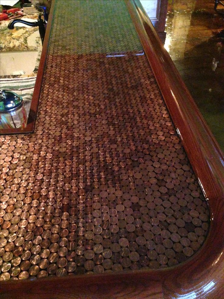 49 best penny projects images on pinterest coins penny for Copper penny bar top
