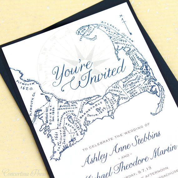 Cape Cod Invitations  Sample  With Antique Map by ConcertinaPress, $5.99