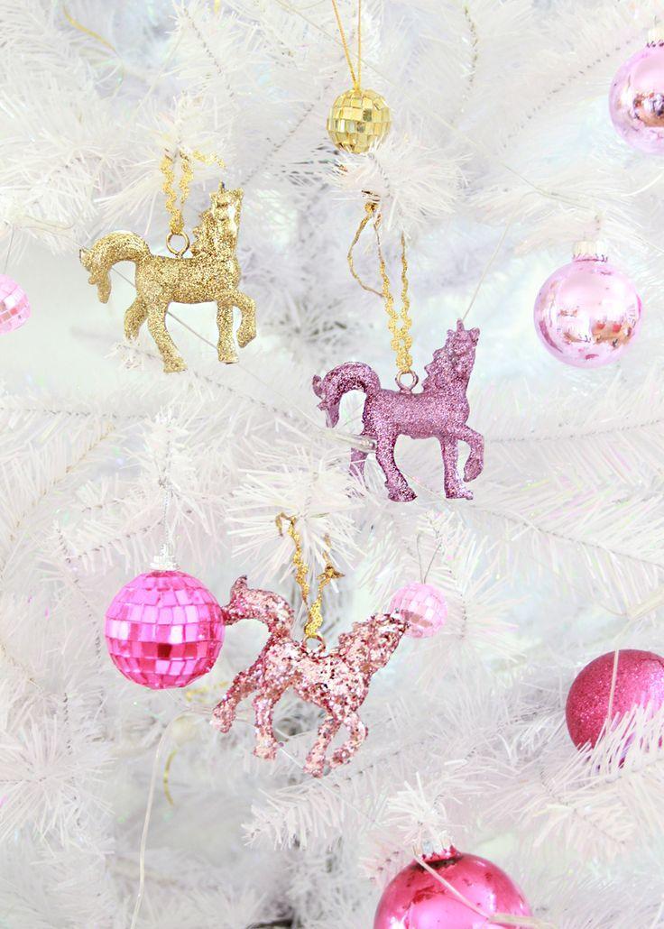 diy sparkly unicorn ornaments