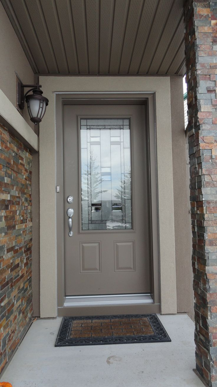 Hollister glass insert by trimlite dark drift coloured single entry door doors calgary Exterior doors installation calgary