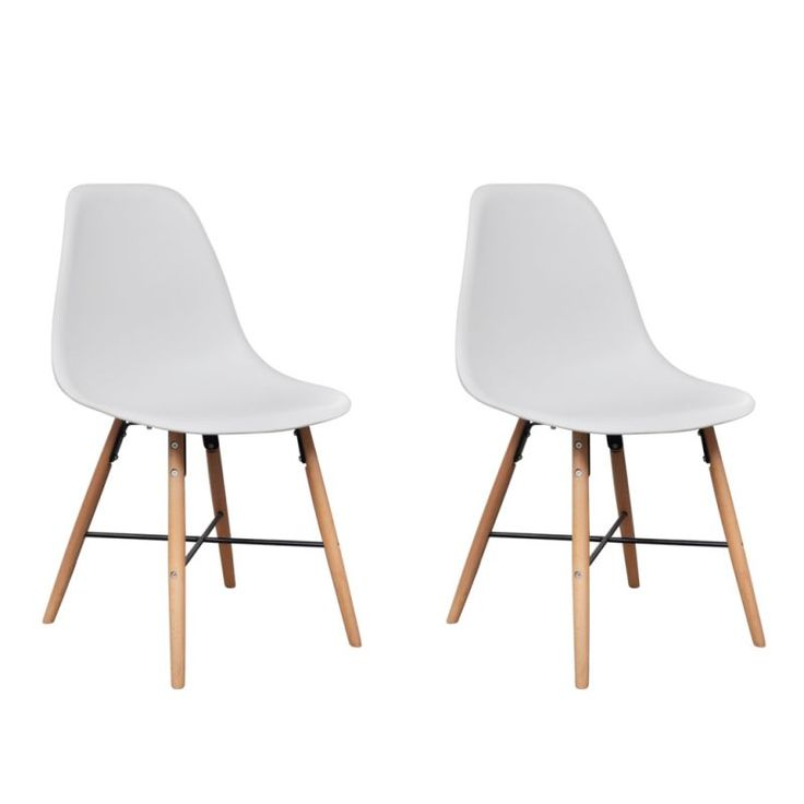 2x Eames Inspired Dining Chairs w Wooden Legs White   Buy Furniture